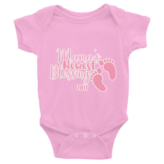 "Infant short sleeve one-piece pink text ""Mama's Newest Blessing 2017"""